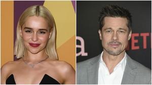 Montaje fotográfico de Emilia Clarke (izquierda) y Brad Pitt (derecha).