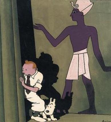 MUSEO HERGÉ 3 Esbozo de Tintín y los pícaros y, abajo, dibujo para portada de Los cigarros del faraón.