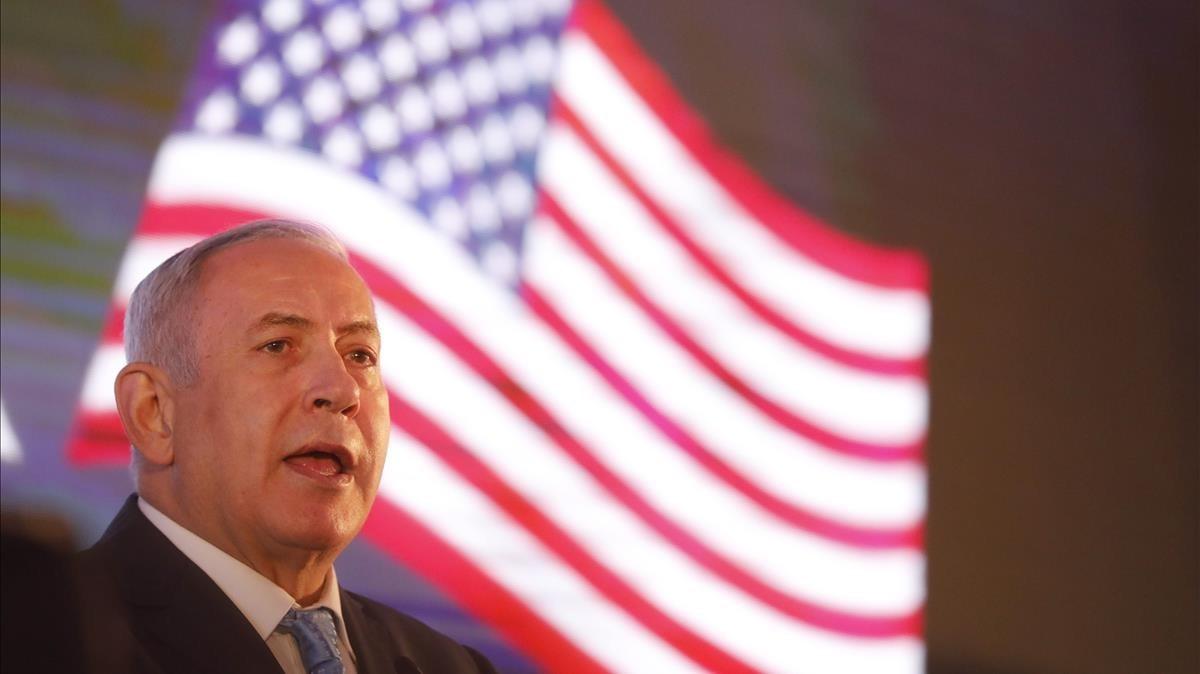 Netanyahu en la recepción ofrecida a la delegación estadounidense que asistirá este lunes a la apertura de la embajada de EEUU en Jerusalén.