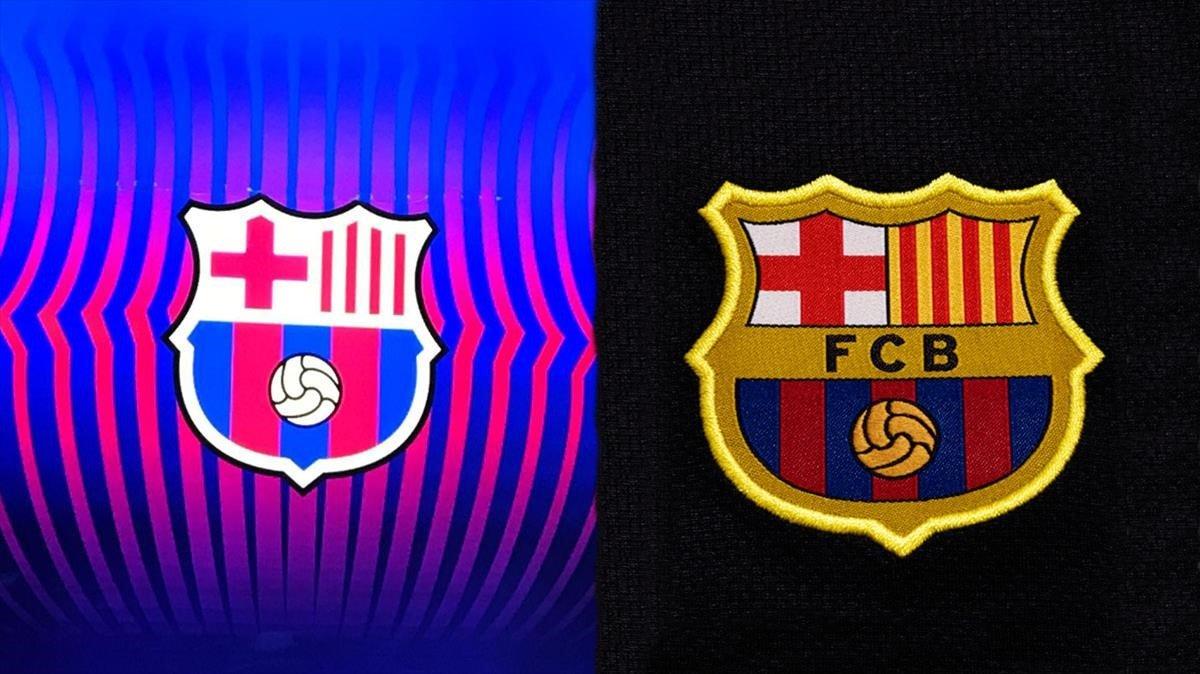 El nuevo escudo del Barça al lado del antiguo.