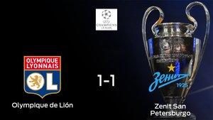 El Olympique de Lyon y el Zenit San Petersburgo empatan y suman un punto a su casillero (1-1)