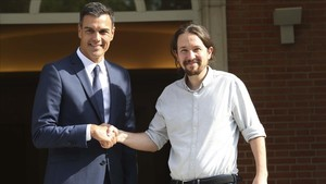 Pedro Sánchez y Pablo Iglesias, en el palacio de la Moncloa