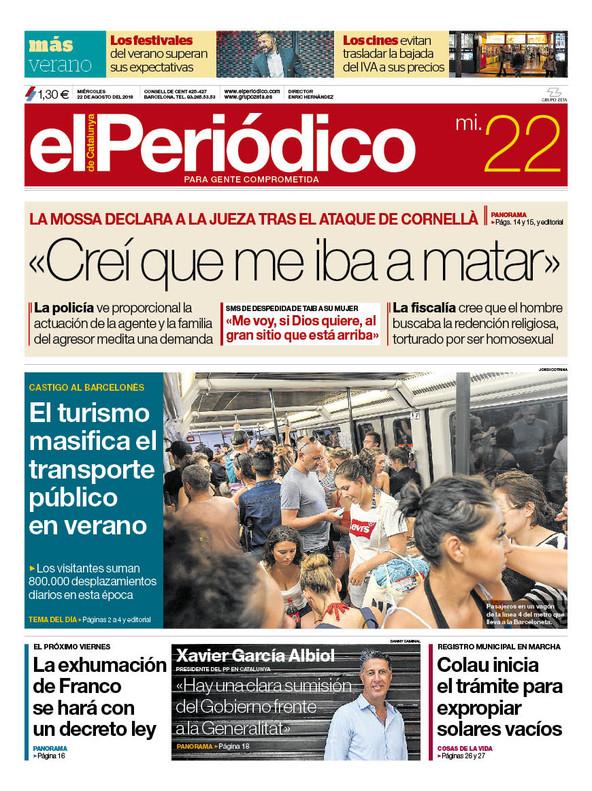 La portada de EL PERIÓDICO del 22 de agosto del 2018