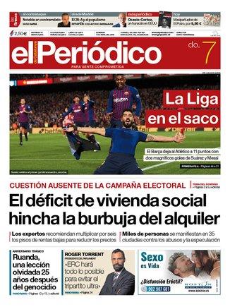 La portada de EL PERIÓDICO del 7 de abril del 2019