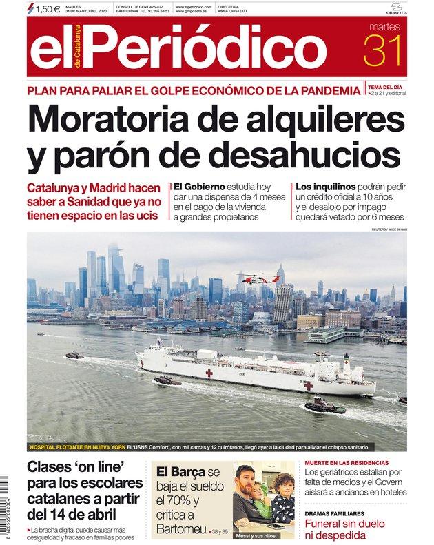 La portada de EL PERIÓDICO del 31 de marzo del 2020.