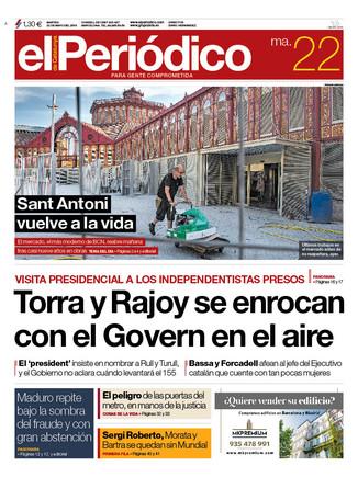 La portada de EL PERIÓDICO del 22 de mayo del 2018.