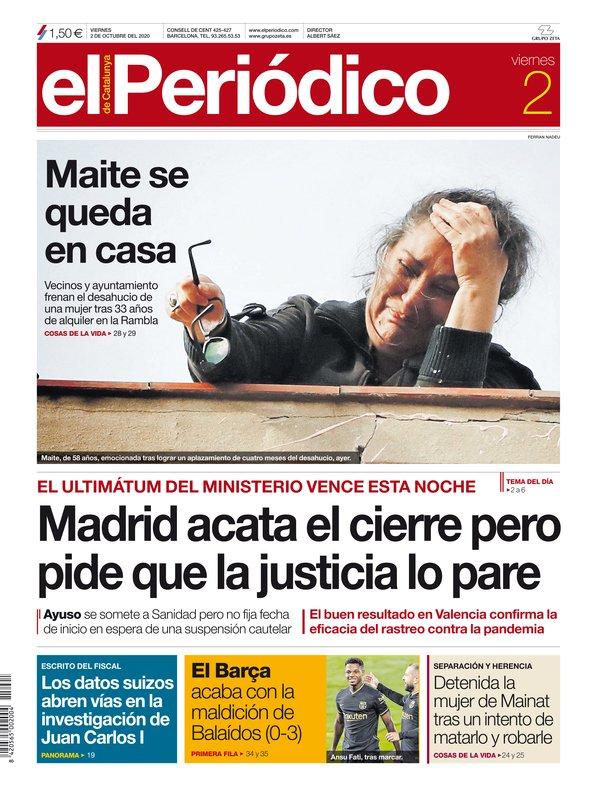 La portada de EL PERIÓDICO del 2 de octubre del 2020.