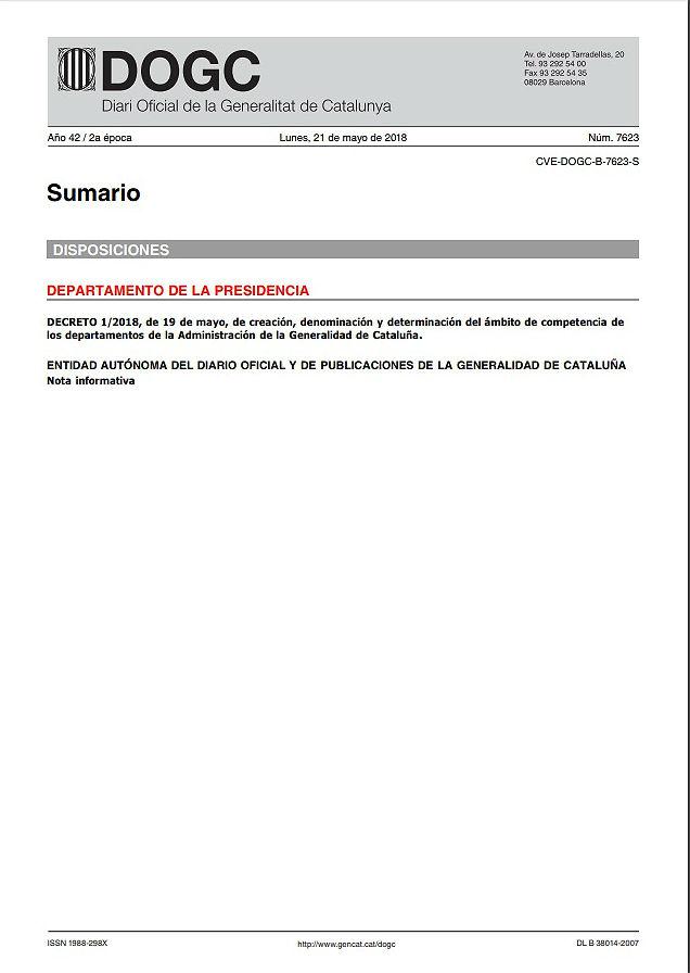 Publicación del decreto de competencias de los departamentos del Govern.
