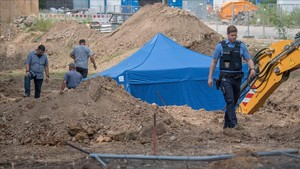 Trabajos en el solar donde se ha detectado la bomba de la segunda guerra mundial en Fráncfort.