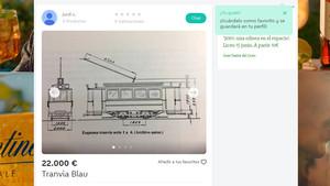 Un comboi del Tramvia Blau, a la venda a Wallapop