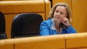 La ministra de Economía, Nadia Calviño, en el Senado, en una imagen de archivo.