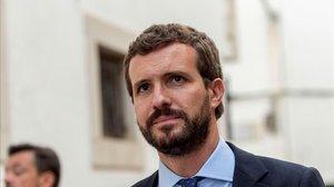 Pablo Casado, el miércoles en Sant Llorenç, en Mallorca, donde hace un año murieron 13 personas por las fuertes lluvias.