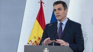 El presidente del Gobierno, Pedro Sánchez, en la comparecencia del 12 de abril.