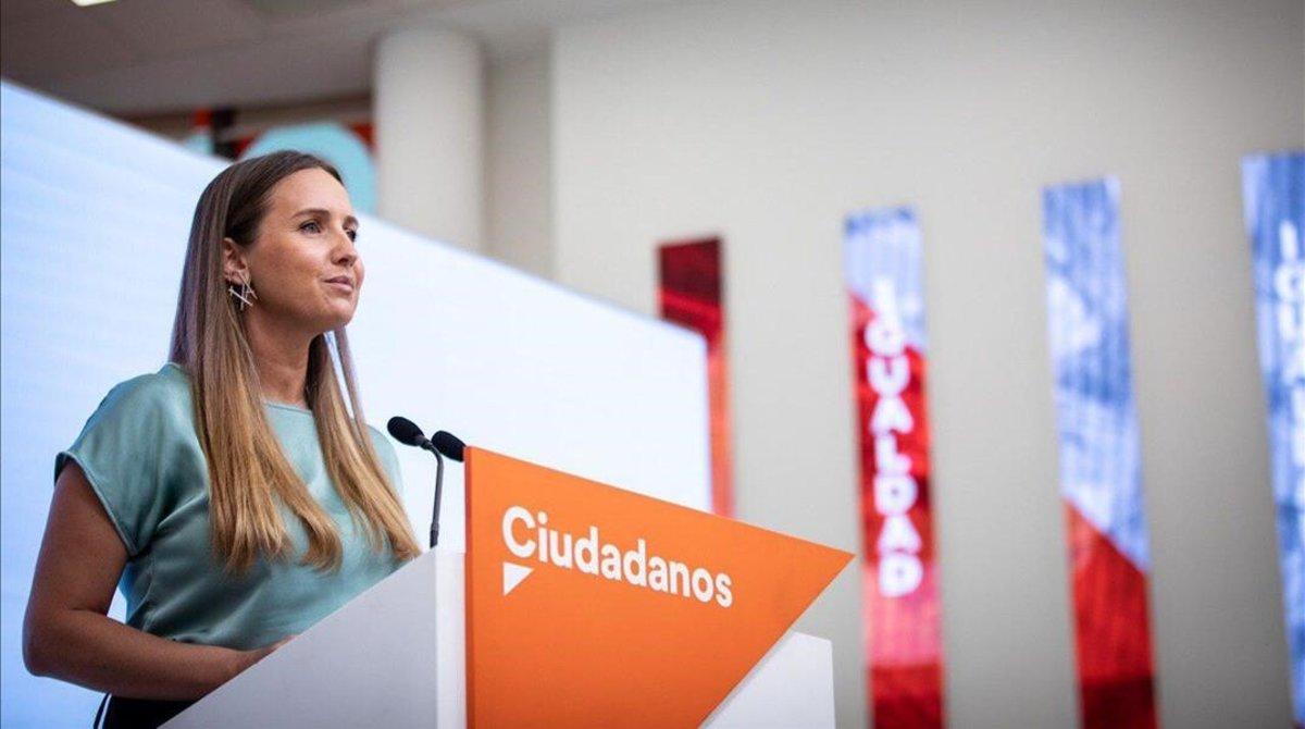 Melisa Rodríguez, portavoz de Ciudadanos, este lunes, atiende a la prensa de manera telemática tras la reunión del comité ejecutivo.