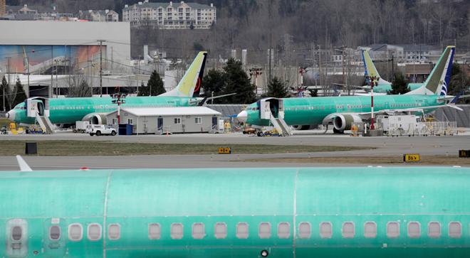 Aviones Boeing del modelo MAX estacionados en la fábrica de Renton (Washington)