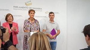 Uxue Barcos y María Chivite, en rueda de prensa.