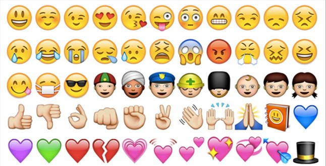 Varios tipos de emoticonos.