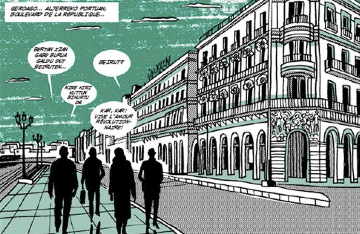 Viñetade 'Black is Beltza', el cómic homónimo de Fermin Muguruza, sobre el que el músico y cineasta inaugura una exposición en el Arts Santa Mònica.