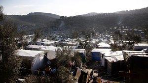 Vista general del campo de refugiados de Moria, en Lesbos.