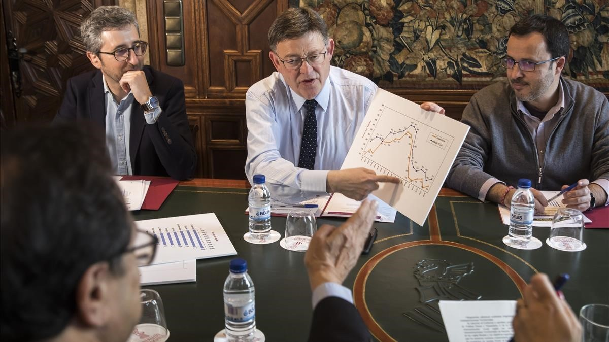 Ximo Puig, president de la Generalitat y secretario general del PSPV, en una reunión de esta semana