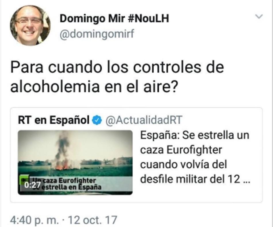 El tuit de Domingo Mir.
