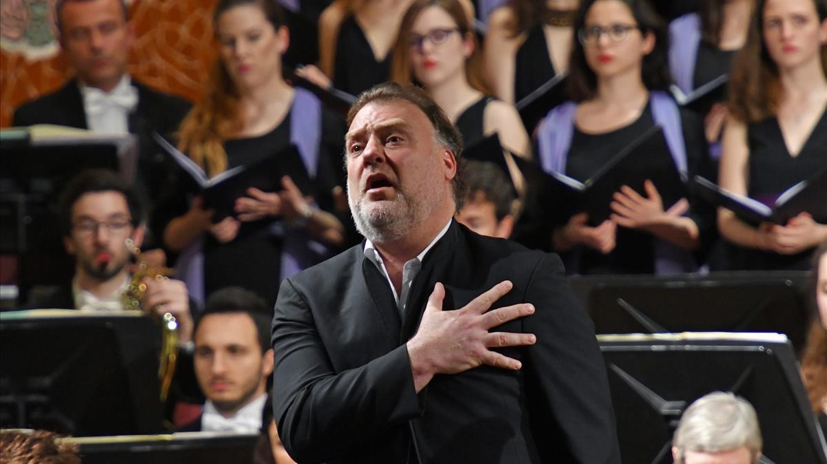 El bajo-barítono galés Bryn Terfel, durante su interpretación en el Palau de la Música.