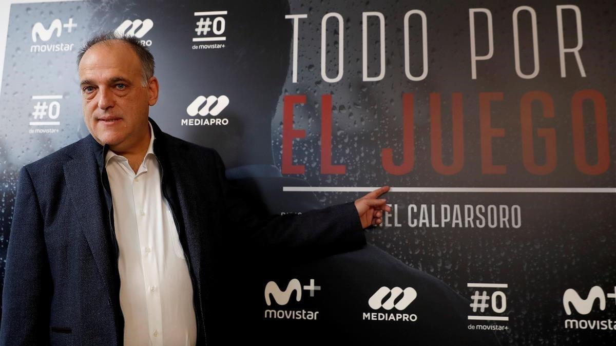 El presidente de la Liga,Javier Tebas,en la presentacion de la serie'Todo por el juego', el pasado viernes.