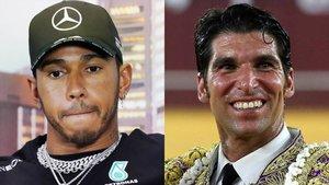 Lewis Hamilton y Cayetano Rivera.