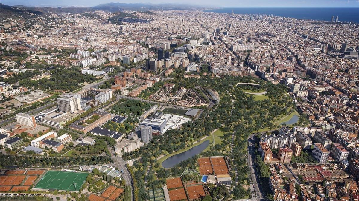 Simulación del gigantesco parque con dos lagos diseñado por los arquitectos barceloneses de On-A para el entorno del Camp Nou.