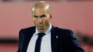 Zidane, durante el Mallorca-Madrid en Son Moix.
