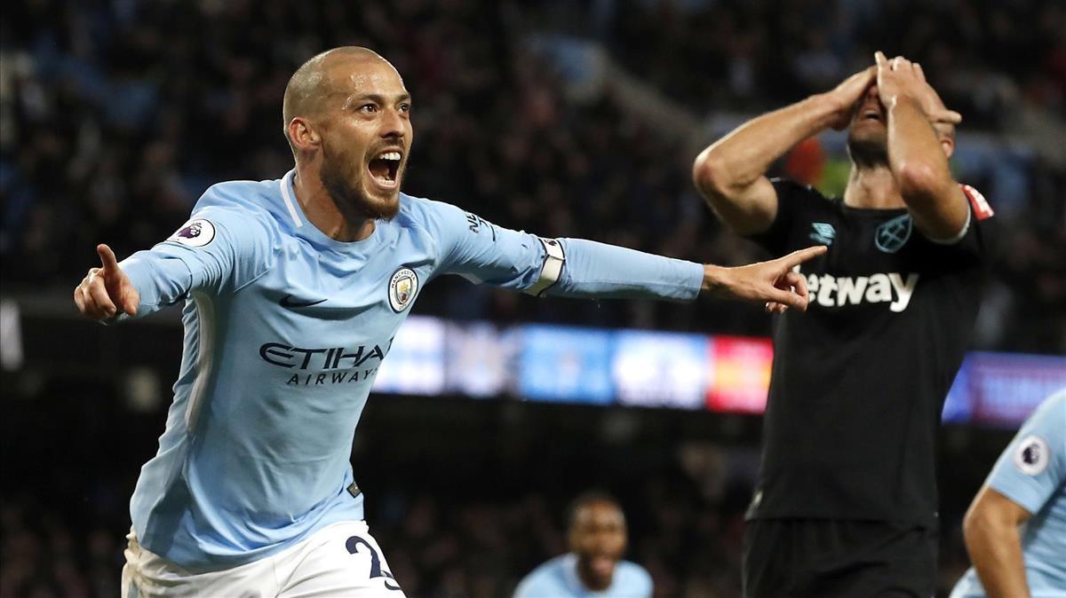Silva celebra el gol del triunfo.
