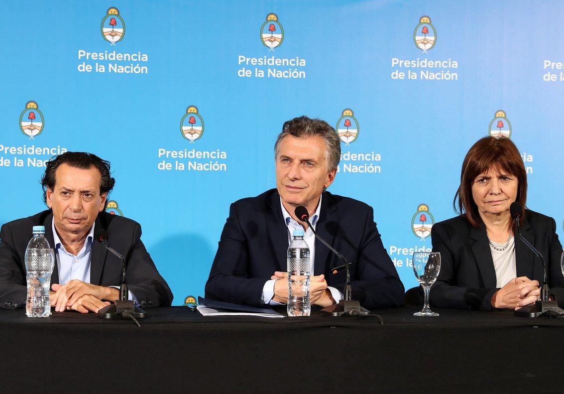 RÍO CUARTO (ARGENTINA), El presidente, Mauricio Macri, y la ministra de Seguridad, Patricia Bullrich, durante una rueda de prensa en Río Cuarto, Córdoba (Argentina). EFE/Cortesía Presidencia de Argentina