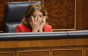 Dolores Delgado durante el pleno en el Congreso de los Diputados.