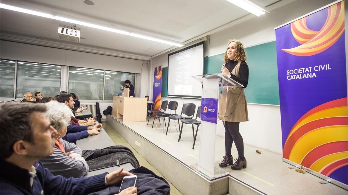 Acto de Societat Civil Catalana en la UAB, en diciembre del 2016