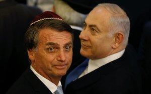 Bolsonaro y Netanyahu, en un acto en una sinagoga en Río de Janeiro.