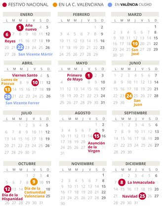 Calendari laboral de València del 2020 (amb tots els dies festius)