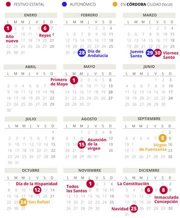 Calendario laboral de Córdoba del 2018.