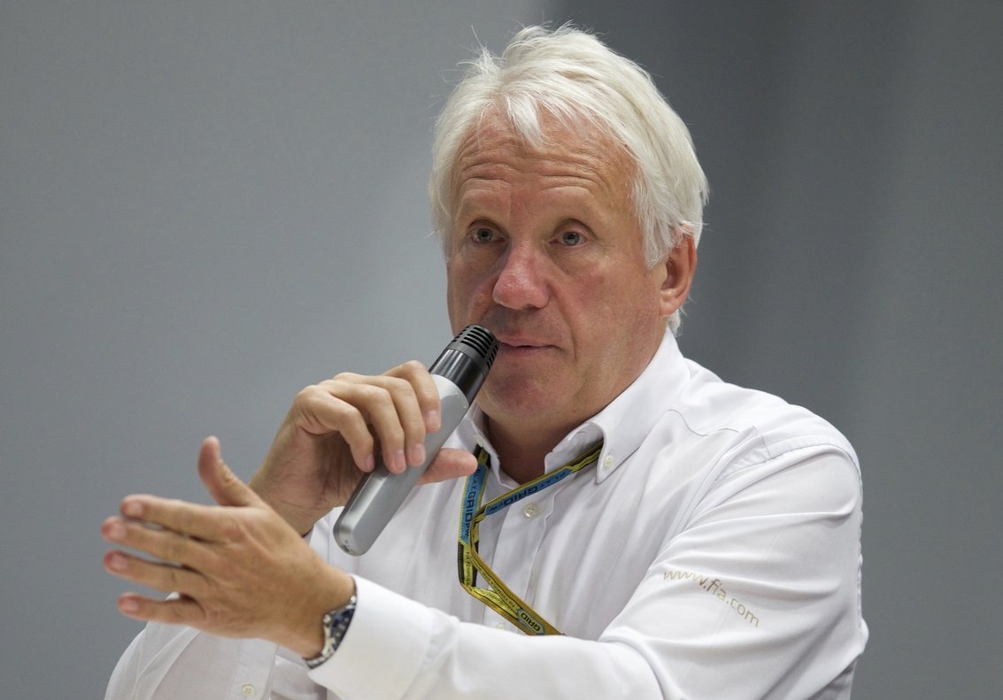 FILE - In this Oct. 10, 2014, file photo, Charlie Whiting, International Automobile Federation, or FIA, Race Director, gestures answering a question during a news conference at the Sochi Autodrom Formula One circuit , in Sochi, Russia. The governing body for international auto racing says its Formula One director Whiting has died from a pulmonary embolism. He was 66. The FIA issued a statement Thursday, March 14, saying Whiting died in Melbourne, where the season-opening Australian Grand Prix will be raced on Sunday. (AP Photo/Pavel Golovkin, File)