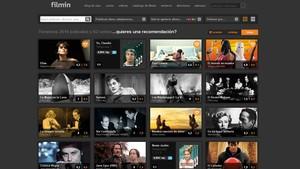 Imagen de la página web de la plataforma de cine Filmin.