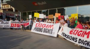 Concentración convocada el pasado mes de junio por el Moviment per unes Pensions Públiques Dignes de Rubí