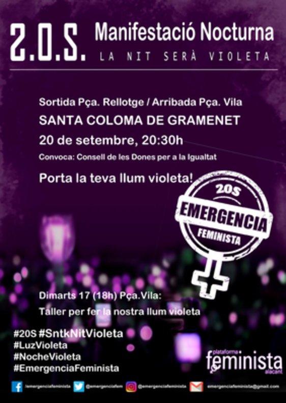 Santa Coloma s'adhereix a la convocatòria Emergència Feminista per il·luminar la nit amb llum violeta
