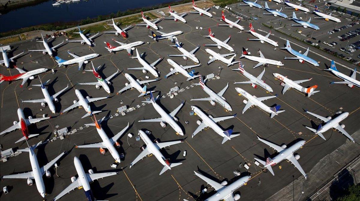 Decenas de Boeing 737 MAX en la sede de Boeing en Seattle.
