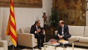Encuentro de Quim Torra y Miquel Iceta, el pasado 8 de junio,en la Generalitat.