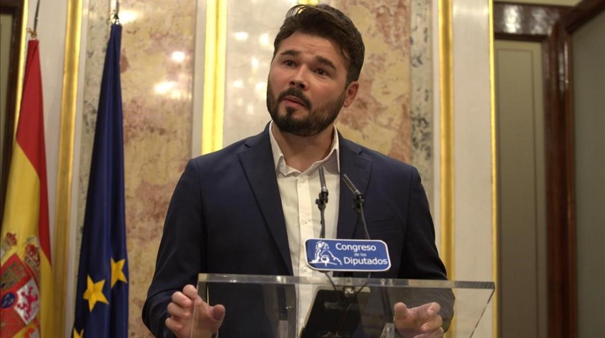 Gabriel Rufián (ERC), en una comparecenciaen el Congreso.
