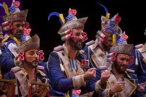 El mayor espectáculo del mundo ganador del Concurso Oficial de Agrupaciones Carnavalescas (COAC2017) de Cádiz en la modalidad de coros, en un momento de la final.
