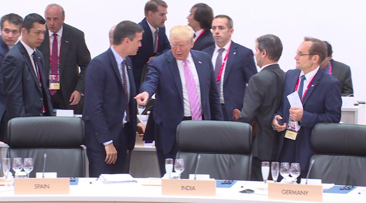 El feo gesto de Trump a Sánchez.