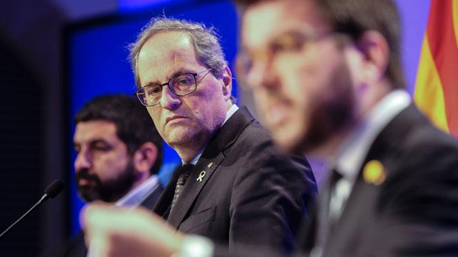 El Govern anima a incentivar el teletrabajo y el trabajo a distancia. En la foto, Quim Torra y Pere Aragonès.