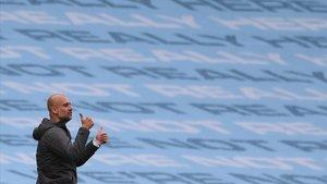 Guardiola, en el Etihad Stadium durante el duelo con el Newcastle.