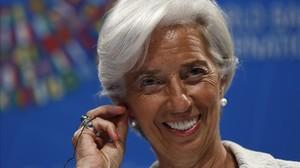 Christine Lagarde durante la rueda de prensa de la reunión del FMI.