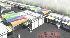 Imagen simulada de las nuevas casetas de la Setmana del Llibre en Català